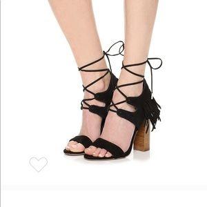 NWOT Kendall & Kylie black fringe block heel